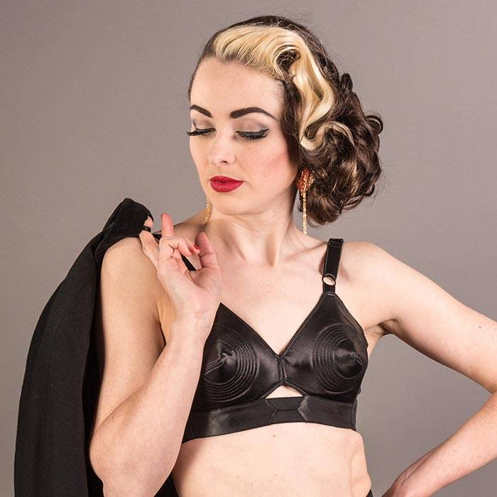 1950s black satin padded bullet bra