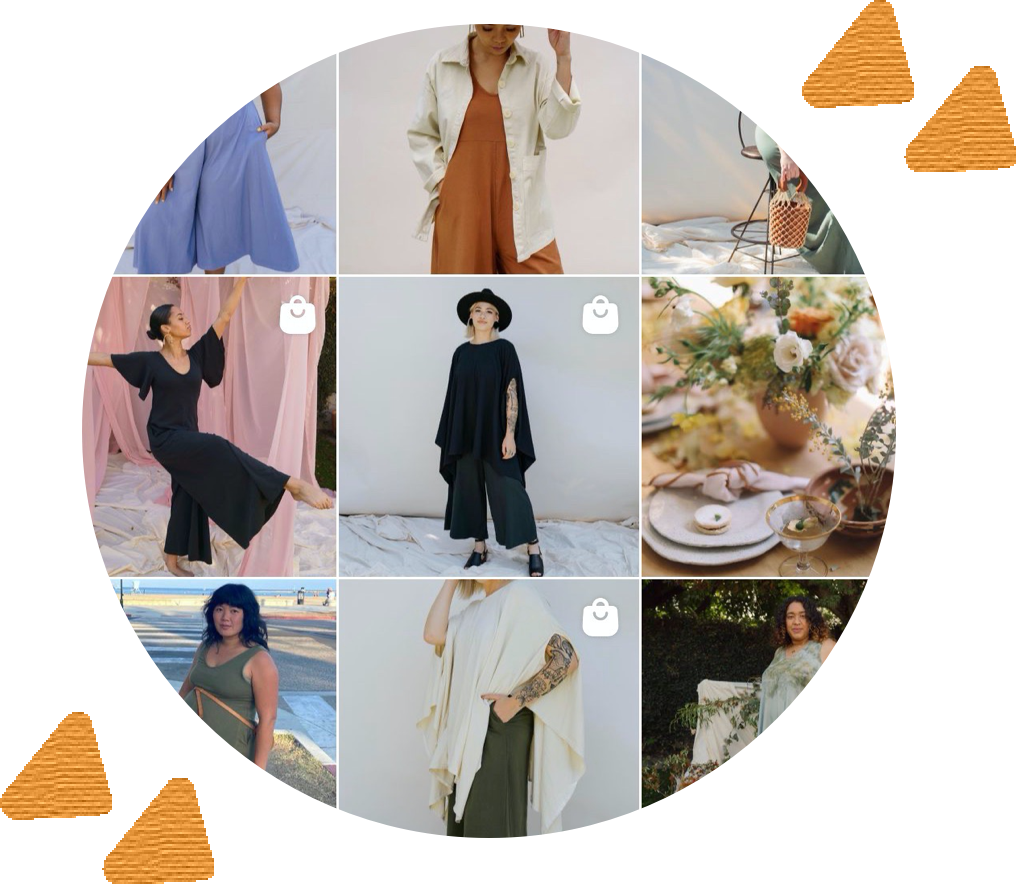 circle containing 9 square grid screenshot of Mien's instagram page surrounded by abstract yellow shapes