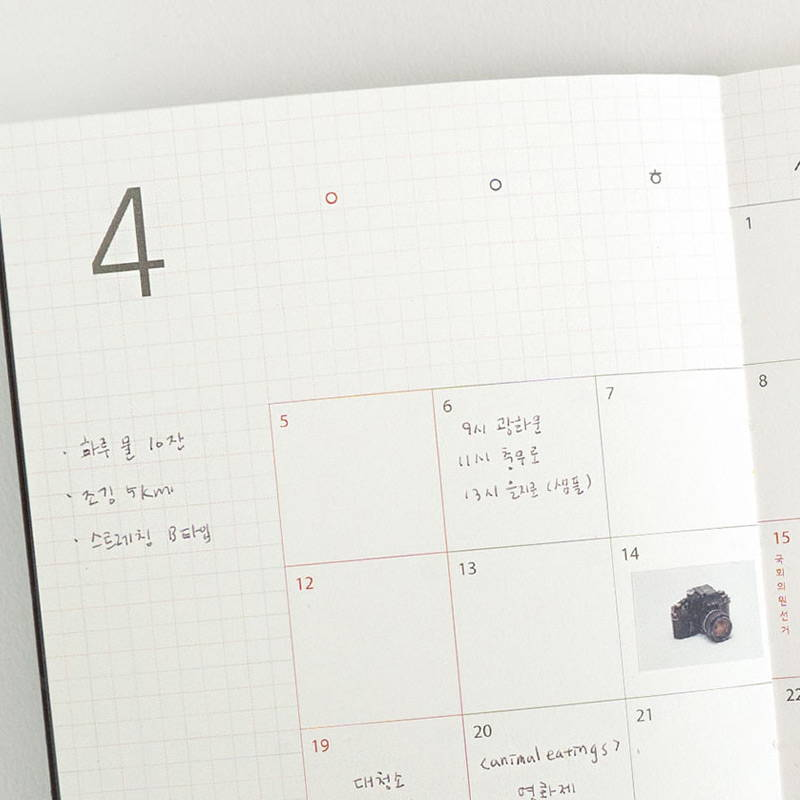 Monthly plan - Eedendesign 2020 Moon and grid monthly dated diary planner