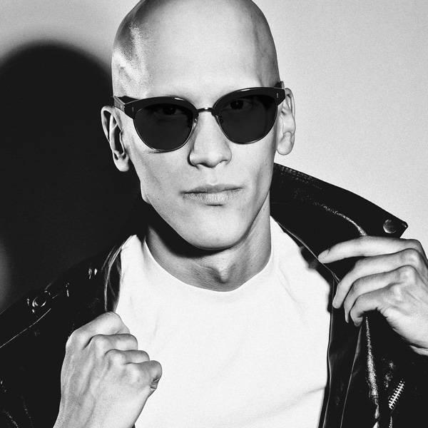 Male model wearing joiuss malcolm black browline sunglasses