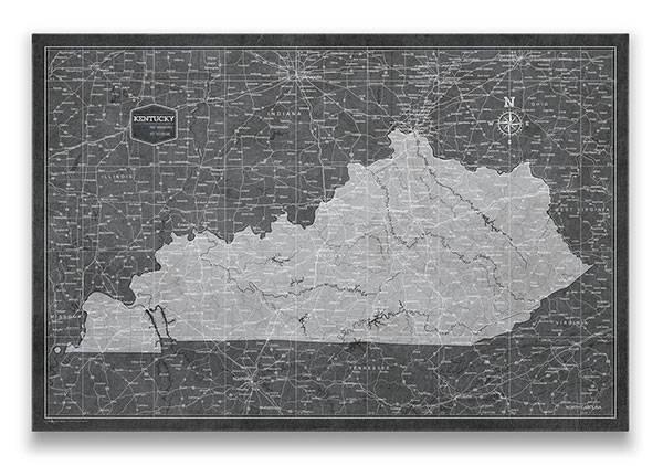 Kentucky Push pin travel map Modern slate