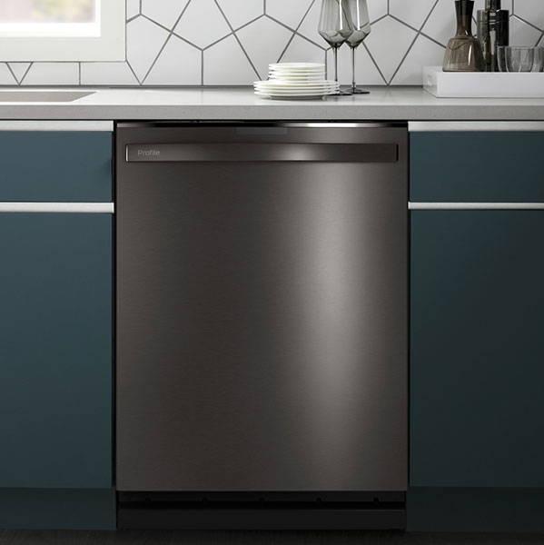 GE Appliances dishwasher installed in a kitchen