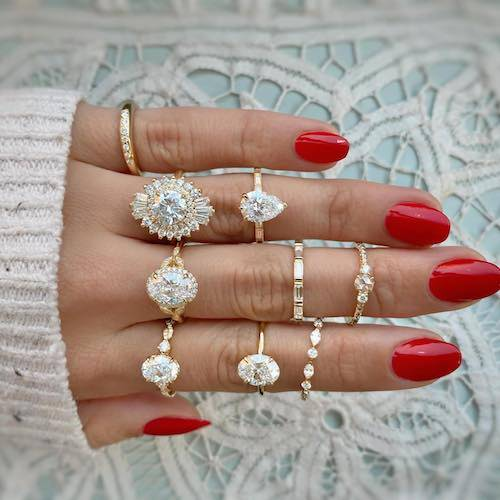 hand full of different rings