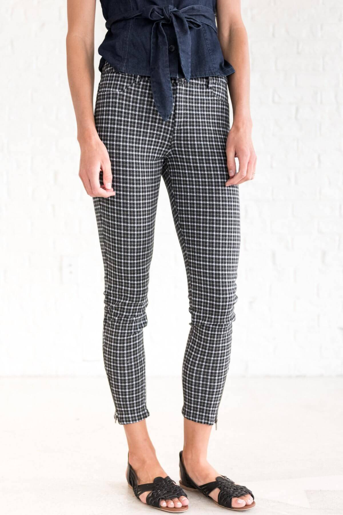 Forest Olive Green Black White Plaid Pants