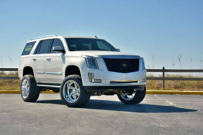 Lifted White Cadillac