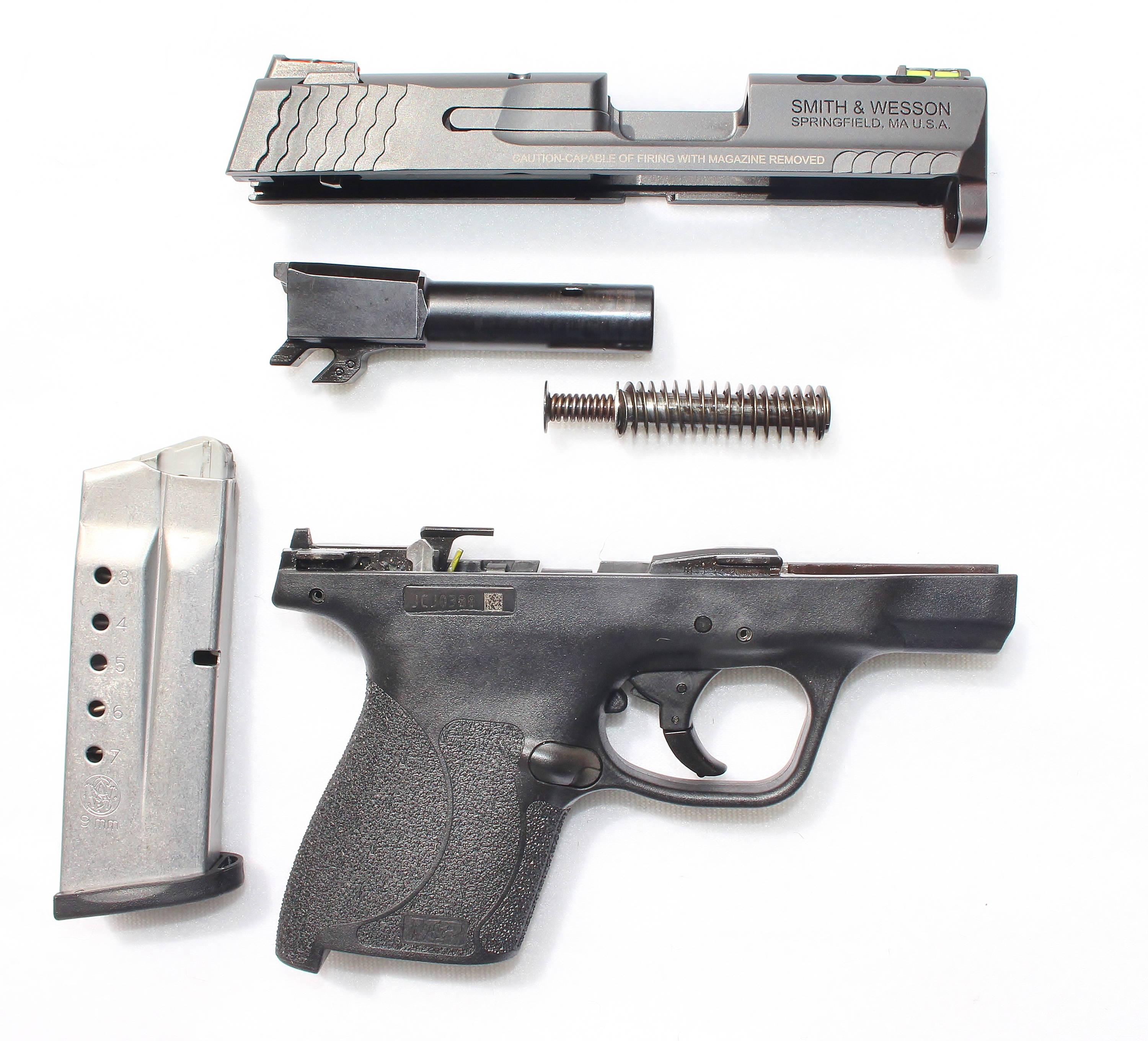 Disassembled Smith & Wesson M&P Shield